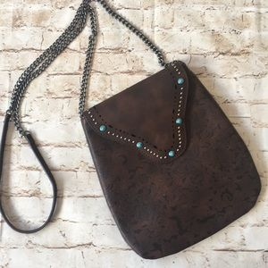 Handbags - Crossbody Bag with Turquoise Color Stone